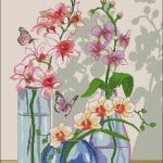 "free cross-stitch pattern""Orchids in a vase """