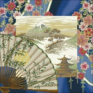 free cross-stitch pattern oriental harmony