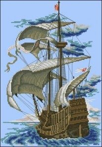 free cross-stitch pattern sailboat