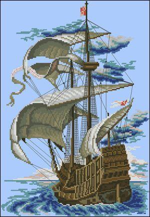 free cross-stitch pattern sailboat
