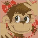 Monkey with beads cross-stitch pattern