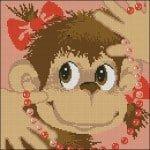 Monkey with beads cross-stitch pattern
