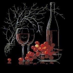 still-life with red wine-free cross-stitch pattern