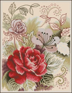cross-stitch patterns tea rose