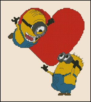Despicable Me-heart-cross-stitch pattern