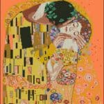 the kiss by Gustav Klimt-cross-stitch design
