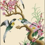 coss stitch design Branch of sakura and birds
