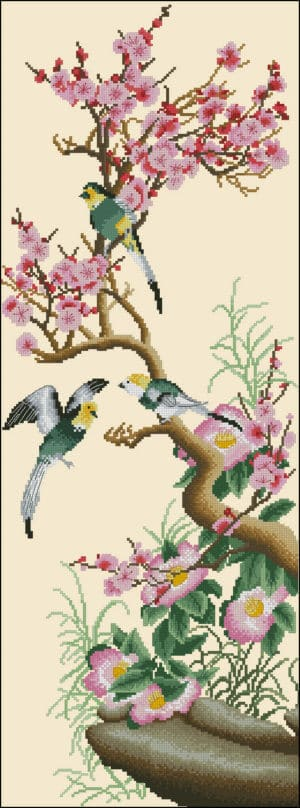 coss stitch design Branch of sakura and birds