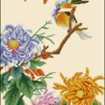 chrysanthemum-and-birds-free cross-stitch pattern