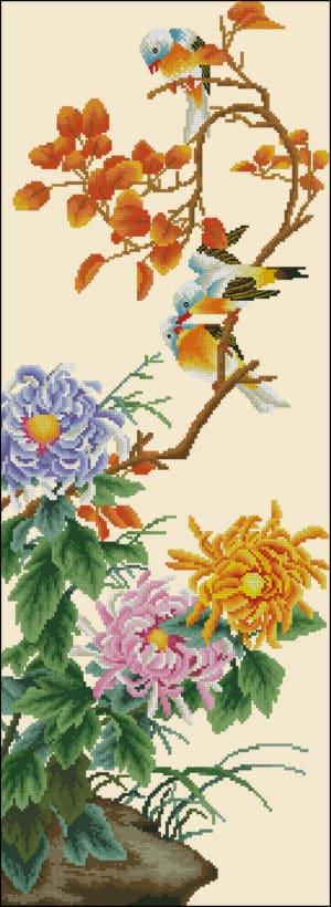 chrysanthemum-and-birds-free cross-stitch pattern