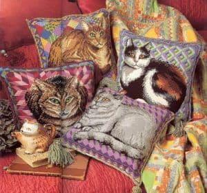 Cushions: patterns needlework charming cats