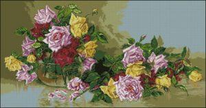 "Cross-stitch design ""Roses"""