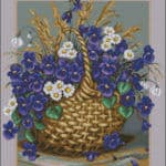 Blue Violets in the basket-cross-stitch pattern