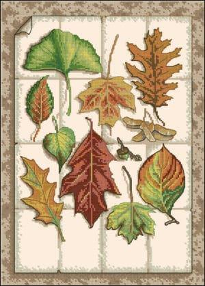 "Free cross-stitch pattern ""Autumn leaves"""
