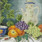 Still life with grapes-cross-stitch pattern