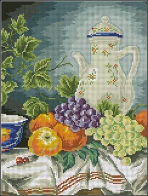 Still life with grapes-cross-stitch pattern