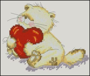 "Free cross-stitch pattern ""Cute loving cat"""