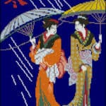 Japenese women-free cross-stitch pattern
