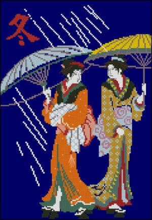 Japenese women-free cross-stitch pattern