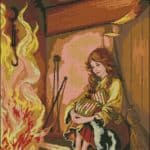 Girl near the fireplace- free needlepoint design