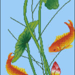 "Free cross-stitch pattern ""Lotus goldfish"""