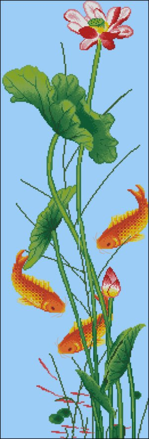 """Free cross-stitch pattern """"Lotus goldfish"""""""