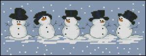 "Free cross-stitch pattern ""Snowmen"""