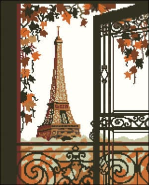 "cross-stitch design ""Paris. Eiffel Tower"