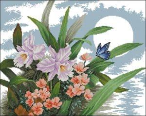 """""""Daffodils at sunset""""-free cross-stitch pattern"""
