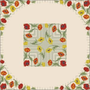 Free cross-stitch pattern square tablecloth