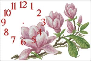 Magnolias -free cross-stitch pattern for wall clock