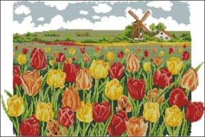 Tulips's field-free cross-stitch pattern
