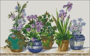 Five flower pots-free cross-stitch pattern