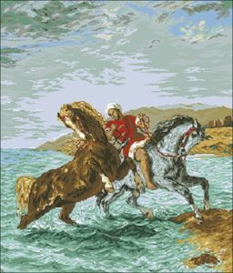 "Free cross-stitch pattern ""Horses Coming Out of the Sea"""