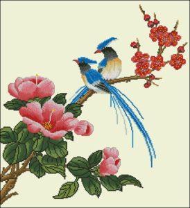 "Free cross-stitch pattern ""Parrots on the branch"""