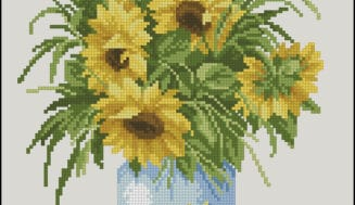 Sunflowers in  blue vase-free cross-stitch pattern