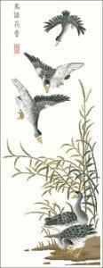 Wild geese -free oriental cross-stitch pattern