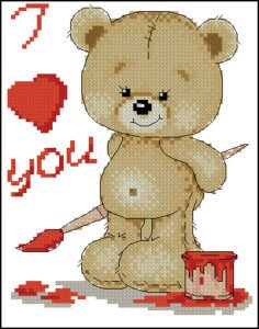Free cross-stitch design Little bear-artist