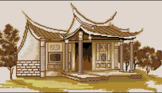 Cross-stitch pattern Oriental house