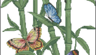 Cross-stitch design-Butterflies and Bamboo