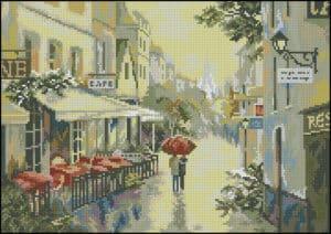 Paris after rain -cross-stitch design