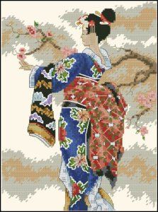 admiring-cherry-blossoms-cross-stitch-design