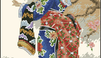Admiring cherry blossoms-free cross-stitch design