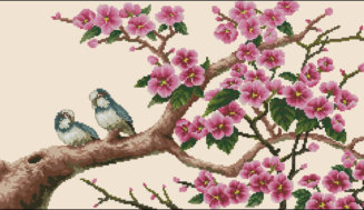 Two birds on a blossom branch-free cross-stitch pattern