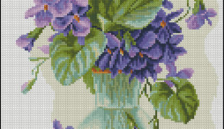 Violets in a jug-cross-stitch pattern