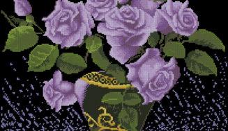 Lilac roses- free cross-stitch design