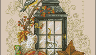 """Autumn lantern""-free cross-stitch pattern"