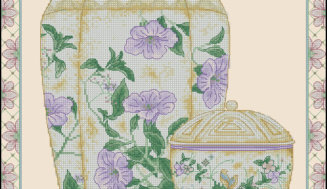 Oriental vase-free cross-stitch design
