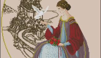 "Cross-stitch pattern ""Woman with a dove"""