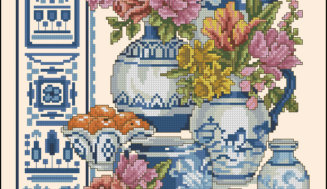 Blue oriental motif- free cross-stitch pattern